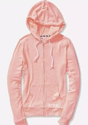 3b0a31d5f2060 VICTORIA SECRET PINK COZY PERFECT FULL ZIP HOODIE CHARCOAL NEON *2 ...