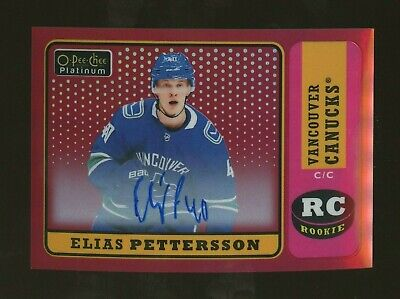 2018-19 OPC Platinum Retro Red Rainbow Autograph Elias Pettersson RC