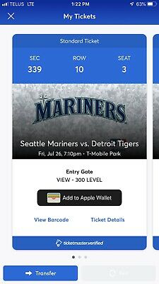 Seattle Mariners Tickets 3 Seats Looking For $15 Ea Or Best Offer. Will Tranfer