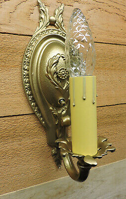 Vintage Wall Sconces Pair Regency Restore Antique Light Fixtures Gold 1940s