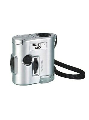 CKStamps: 60X Pocket Mini Magnifier Microscope Loop w/LED UV Light(Color:Silver
