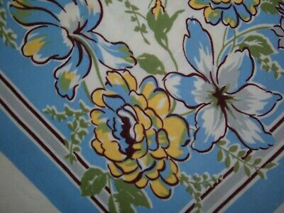 Vintage Tablecloth Floral Peony Blue