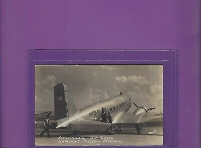 American Airlines DC-3 at St.Louis Lambert field airport real photo postcard