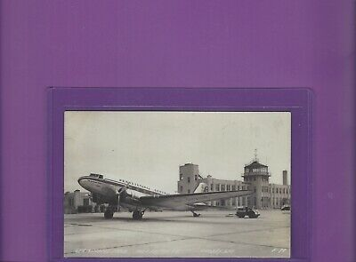 PCA Pennsylvania Central Airlines DC-3 at Milwaukee airport RP postcard