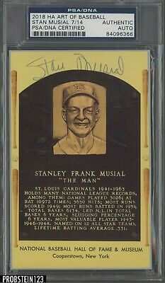Stan Musial Cardinals HOF Signed 2018 Ha Art of Baseball AUTO 7/14 PSA/DNA