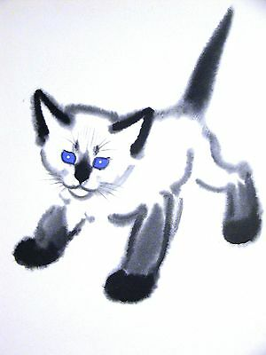 Clare Turlay Newberry SIAMESE KITTEN w BIG BLUE EYES c1940 Large Print Matted