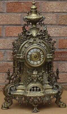 Massive Impressive Quality Heavy Brass Hermle Mantle Clock With Mask Heads Etcma