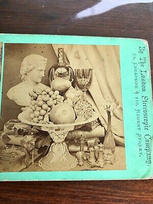 Stereoview Card Photo Still Life London Stereoscopic Co. Bust Fruit Silver Books