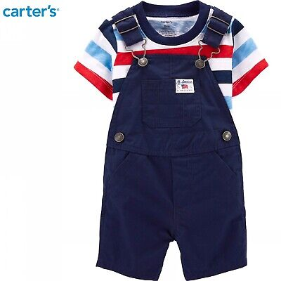 Carters Baby Boy T-Shirt Short Shortall Overall Set 2pc Outfit 12 18 24 Months