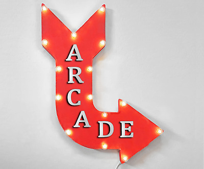 "24"" ARCADE Curved Arrow Sign Light Up Rustic Metal Marquee Games Gaming Gamer"