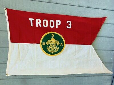 Vintage 1940's BSA Boy Scouts Of America Troop 3 Flag By Defiance 3 ft x 5 ft