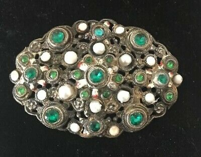Antique Green  Glass Stones enamel and Pearl Large Pin Brooch