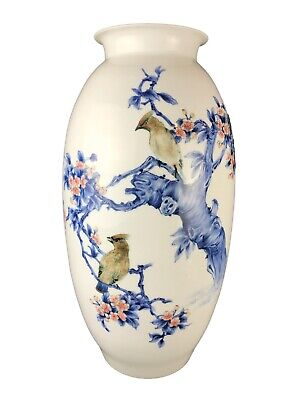 "Stunning Chinese Porcelain Hand-Painted Vase  21.75"" H"