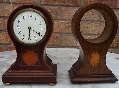 Old Balloon Shaped Inlaid Mantle Clock To Restore With Inlaid Case