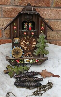 Large Fancy Looking Wooden Cuckoo Clock With 3 Weghts To Tidy Up Restore