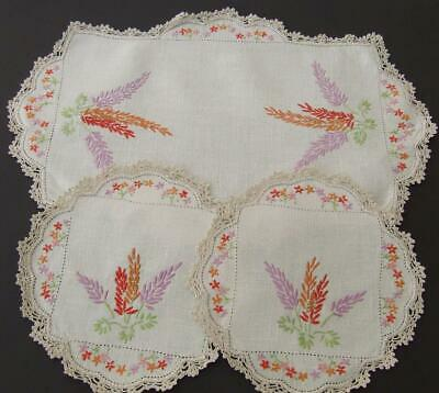 Three Piece Hand Embroidered Duchess Set - Cottage Flowers - Crocheted Edges