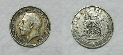 GREAT BRITAIN : SILVER SIXPENCE 1915 - GEORGE V - TONED aVF