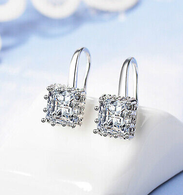 Square Stone Drop Hook Earrings 925 Sterling Silver Womens Girls Jewellery Gift