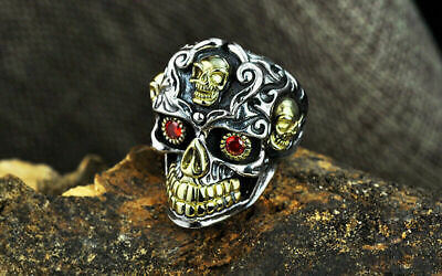 Cool Men's Punk Biker Ring Silver stainless Steel Gothic Skull Head Ring Size 13