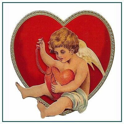 Vintage Valentine Cupid Sewing Heart Flowers Counted Cross Stitch Pattern