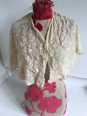 Rare 1900 Early 20th Century Antique Ivory Lace Hand Sewn Collar Shawl