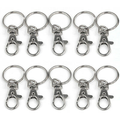 10x Small Silver Tone Lobster Trigger Swivel Clasps for Keyring Hook 37x16mm Key