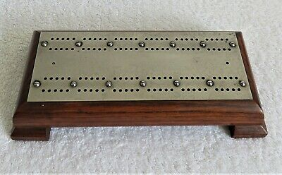 Antique Handmade Treen, Oak and plated Brass Cribbage Board with Corner Feet.