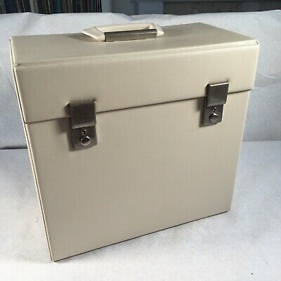 Vintage 1970s White Record LP 12 Inch Box Carry Case With Key 🔑