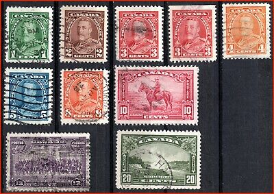 Canada Used Stamps King George V Pictorial Issue (1935) - #217-225 (68)