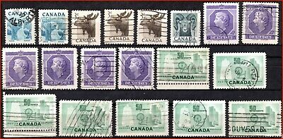 Canada 19 Used Stamps 1953 Commemoratives - #321-324,330,334 (88)