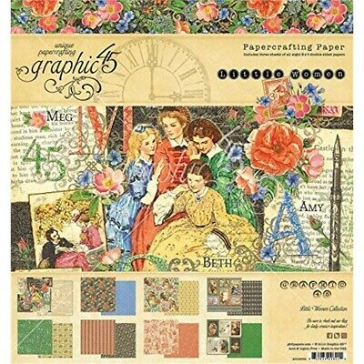 """Graphic 45 Little Women 8"""" x 8"""" Pad - Paper Crafting"""