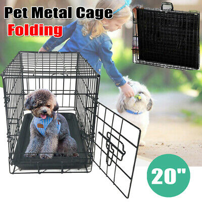 """One Door 20"""" Pet Folding Suitcase Dog Cat Crate Cage Kennel Pen w/Washable Tray"""