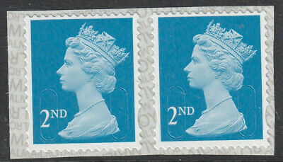 GB 2019 2nd CLASS x 2 S/A MACHIN Pair CODE M19L MBIL SBP2u BACKING PAPER MNH