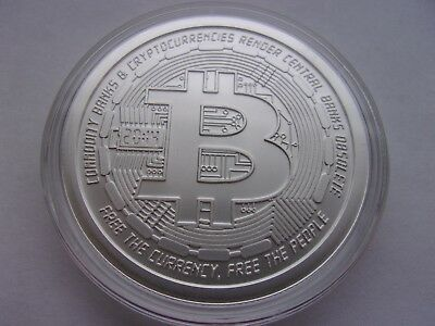 Bitcoin 1 Oz .999 Silver Bitcoin Commemorative Coin Anonymous Mint Bitcoin .999