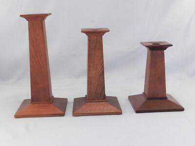Vintage Signed STICKLEY Mission~Arts & Crafts Style Wood Candlesticks~Holders~
