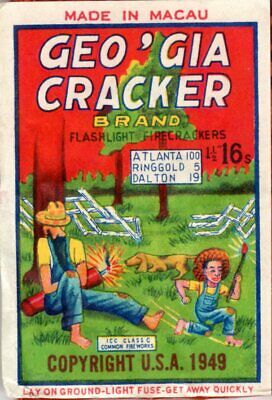 Geo'gia Cracker Firecracker Label, C3, 16's Complete with Logos!