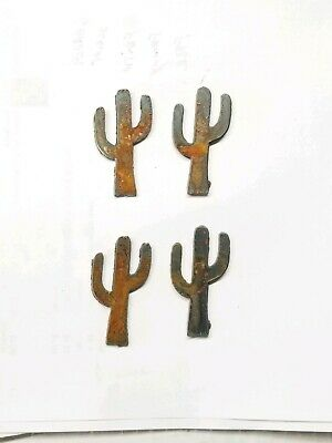 "Lot of 4 Cactus Desert Shapes 3"" Rusty Metal Vintage Ornament Craft Sign DIY"
