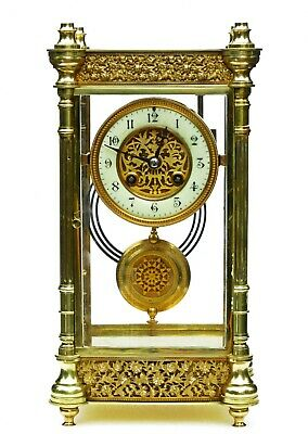 Lge Antique French Four Glass Striking Mantel Clock Gilt Filigree, Serviced, 13""