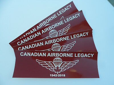 Canadian Airborne Legacy - Bumper Decal- With Cdn Para Wing Design 1942 - 2018