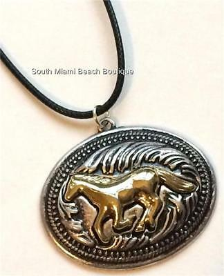 Silver Gold Horse Necklace Equestrian Mustang Country Western Cowgirl Plated
