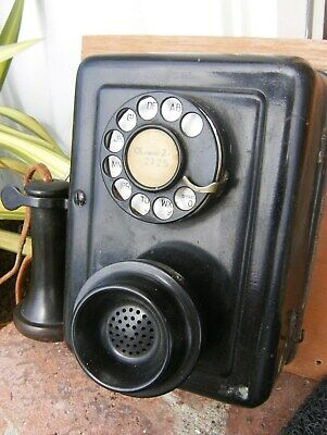 Estate vtg/antique 653A Western Electric wall telephone black dial ready candles