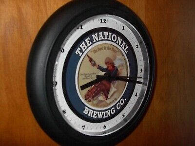 National Brewing Co. Cowboy Beer Bar Man Cave Advertising Black Wall Clock Sign
