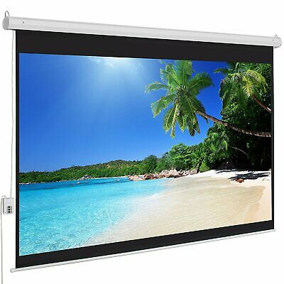 "100"" inch 4:3 HD Electric Motorized Projector Screen Projection + Remote Control"