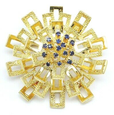 3117cb6336f VINTAGE Solid 18k Yellow Gold / Sapphires Ladies Large Brooch Pin ~ 18.8  grams ~