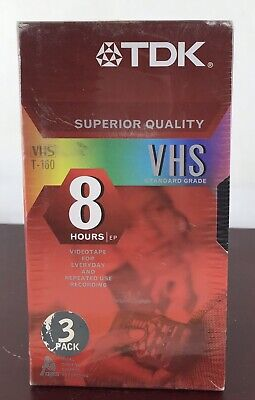 NEW 3 Pk TDK Blank VHS Video Tapes 8 Hours T-160