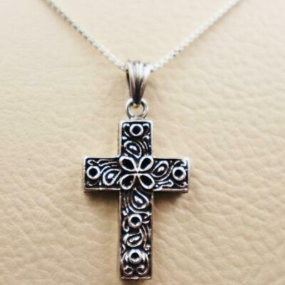 Amazing Antique Egyptian Silver Pendant Necklace Chain Cross Jewelry....STAMPED