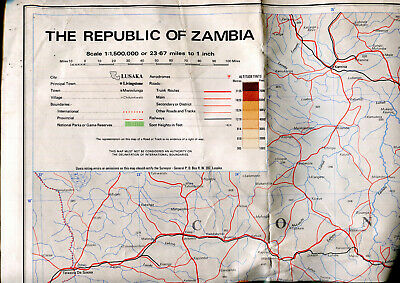 1969 Topographical map REPUBLIC OF ZAMBIA Africa published Lusaka