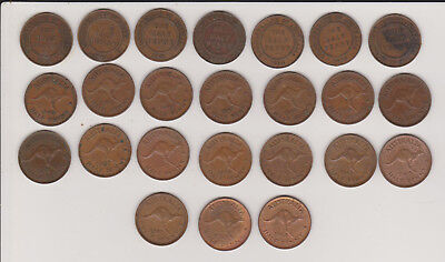 Lot of 24 Different Date Halfpennies 1916 - 1964