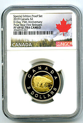 2019 $2 Canada Toonie Special D-Day Proof Ngc Pf69 Uc Two Dollar First Releases