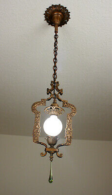 EARLY Antique VIntage SOLID BRASS Ceiling Light Fixture CHANDELIER